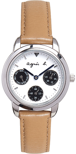 Agnès B. women's white steel / leather watch: US$345.