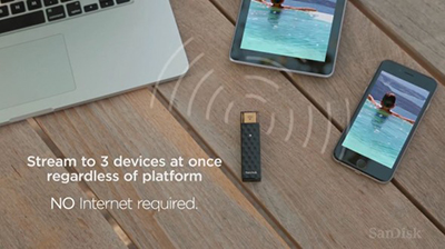 SanDisk Connect Wireless Stick 128GB, Wireless Flash Drive for Smartphones, Tablets and Computers: US$159.59.