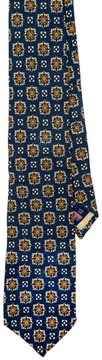 Holland & Sherry Navy Square Print Tie: US$175.