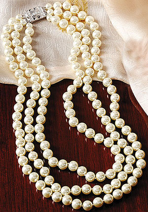 Jackie Kennedy Triple-Strand Faux Pearl Necklace: US$165.