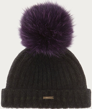 Bally women's wool and angora blend bobble hat in caper with fur pompom: US$495.