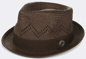 Ben Sherman Brown Vented Straw Men's Trilby Hat: US$60.