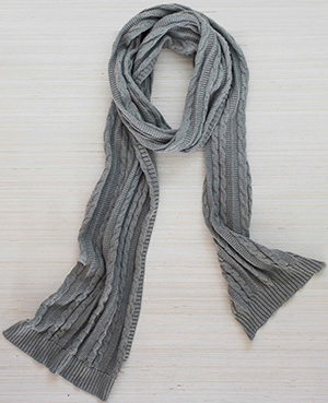 Boll & Branch women's cable knit scarf: US$50.