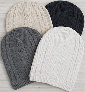 Boll & Branch women's slouchy beanies: US$25.