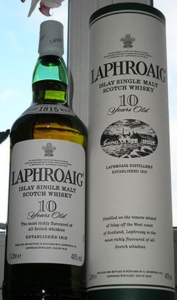 Laphroaig 10 Years Old Whisky.