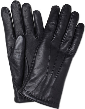Turnbull & Asser Cashmere Lined Black Men's Leather Gloves: €185.