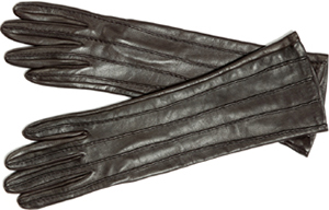 Nicole Farhi long leather gloves.