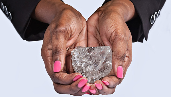 Lucara Diamond: 1,111 Carat type IIa Karowe Diamond. The world�s second largest gem quality diamond ever recovered. The stone measures 65mm × 56mm × 40mm in size.