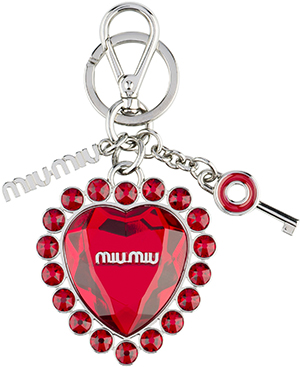 Miu Miu Embossed metal keychain with Plexiglas element surrounded with Swarovski crystals at its center: US$195.