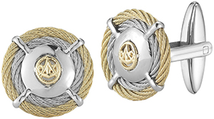Alor 18 karat Yellow Gold, stainless steel, yellow stainless steel cable and grey stainless steel cable 2 row 2.0mm cufflinks: US$325.