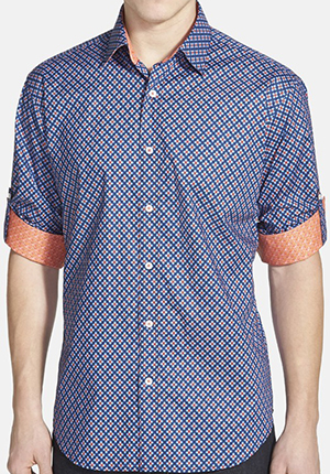 Bugatchi Shaped Fit Short Sleeve Floral Print Sport Shirt: US$199.