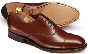 Charles Tyrwhitt Brown Heathcote calf leather toe cap Oxford shoes.