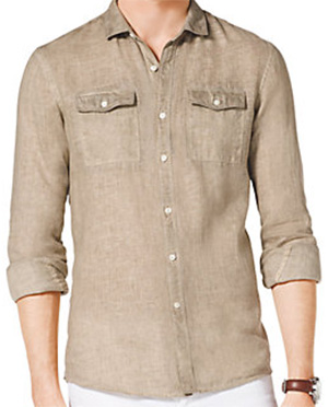 Michael Kors Two-Pocket Linen Men's Shirt: US$175.
