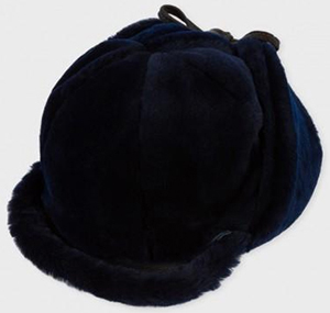 Paul Smith Men's Navy Sheepskin Peaked Chapka Hat: £275.