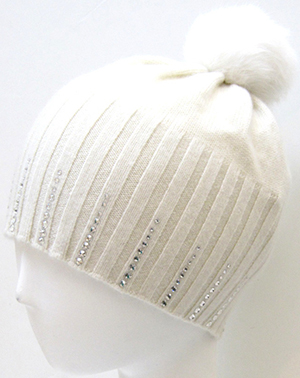 Portolano women's Cashmere hat with fur pom pom and crystals: US$90.