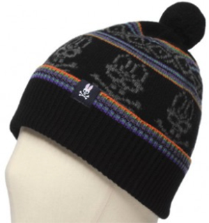 Psycho Bunny Fair Isle Pom Pom Men's Hat - Black/Purple: US$70.