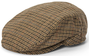 Paul Stuart brown & red district check wool driving men's cap: US$167.50.