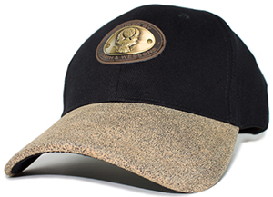 Smith & Wesson Black Cap With Distressed Leather Brim & Antique Oval Medallion: US$19.95.