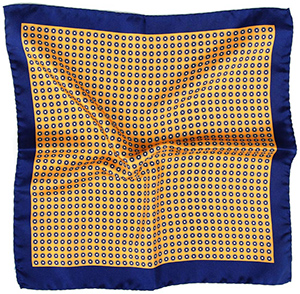 Oliver Wicks Navy & Yellow Italian 100% Silk Pocket Square: US$39.