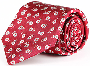 Oliver Wicks Red Italian 100% Silk Tie with a Floral Pattern: US$69.