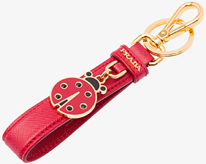 Prada women's Saffiano leather keychain with metal and enamel charm: US$210.