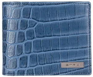 Etro metallic logo wallet in crocodile effect leather contrasting lining: €210.