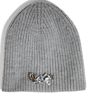 DKNY embellished ribbed knit slouchy women's hat: US$75.