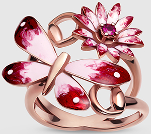 Gucci Flora ring in rose gold, enamel and rubies: US$2,200.