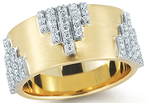 Ivana Trump Collection Empire Yellow Gold Band With Diamonds.