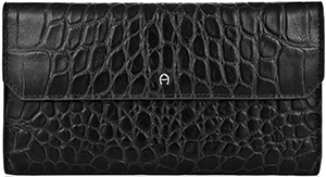 Etienne Aigner Camelia Classic Wallet in black croco embossed leather: US$225.