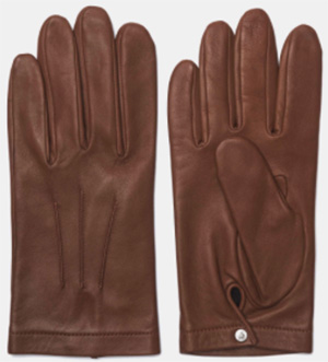 Façonnable men's leather gloves with silk lining: US$225.