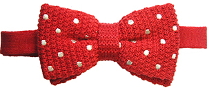 Tyler & Tyler Knitted Wool Bow Tie - Spot Red/White.