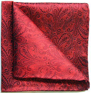 Tyler & Tyler woven silk pocket squares paisley red.