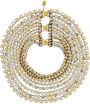 Erickson Beamon Lady and the Tramp gold-plated, faux pearl and Swarovski crystal necklace: €2,340.