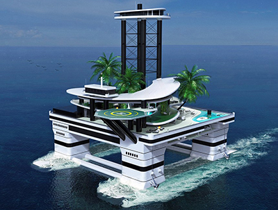 Private floating habitat based on semi-submersible platforms.