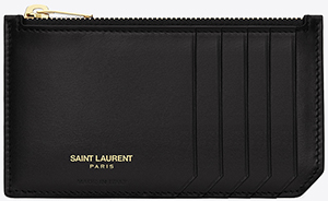 Yves Saint Laurent classic saint laurent paris 5 fragments zip pouch in black leather: US$295.