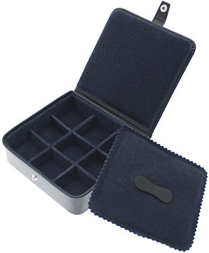 Ettinger Square navy leather stud, trinket or jewellery box with rounded corners: £216.