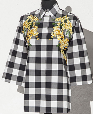 Dolce&Gabbana Vichy Print Women's Shirt With Mimosa Embroidery: US$2,495.