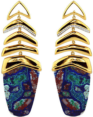 Kara Ross Large Graduating Hydra Earring With Azurite Malachite: US$12,995.