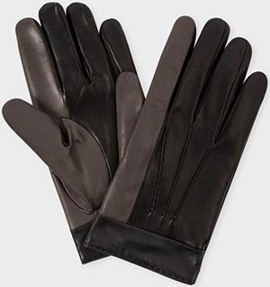 Paul Smith Men's Black Tri-Colour Touchscreen Friendly Leather Gloves: €255.