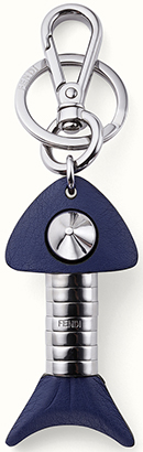 Fendi Handmade blue calfskin and metal fishbone men's keyring: €360.