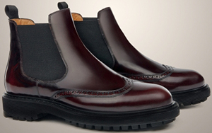Corneliani Brushed Leather Perforated Men's Ankle Boots, With Rubber Sole.