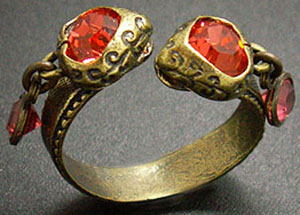 Kenny Ma Designs ring made with Swarovski elements in padparadscha.