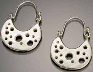 Kerin Rose galaxy hoop recycled sterling silver earring: US$120.