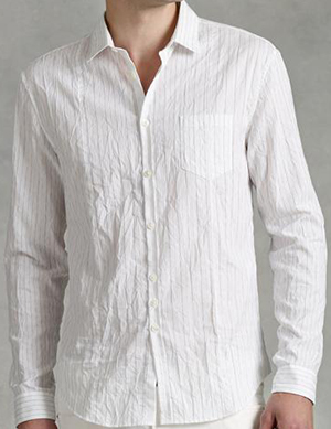 John Varvatos Crinkle Finish Placket Shirt: US$268.