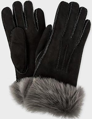 Paul Smith Women's Charcoal Grey Shearling Sheepskin Gloves: €270.