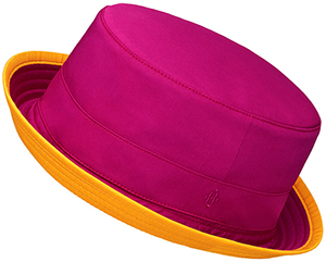 Hermès women's hat in purple-red cotton poplin with diamond shaped 'H' signature: US$490.