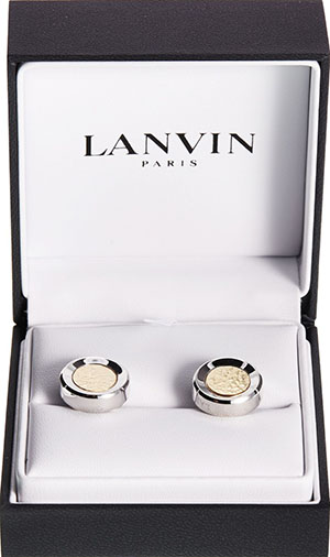Lanvin Cufflinks in rhodium and gold metal: US$325.
