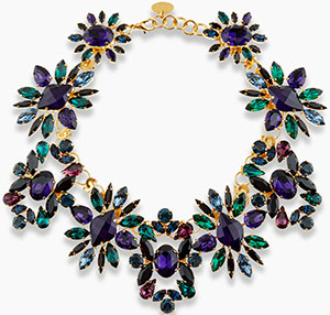Erdem Green & Purple Crystal necklace: £830.