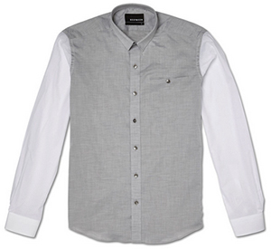 Bespoken Grey Contrast Shortpoint Men's Shirt: US$171.